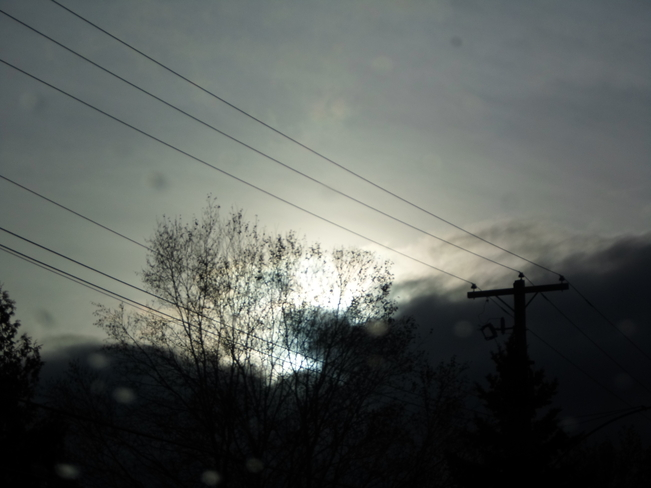 Dark Clouds, mix between rain and snow Elliot Lake, Ontario Canada