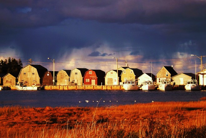 weather at the wharf Malpeque, Prince Edward Island Canada