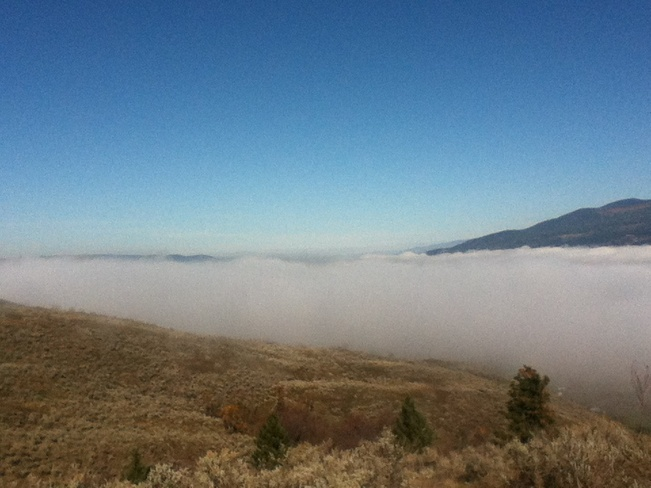 fog hovering over the valley South Vernon, British Columbia Canada