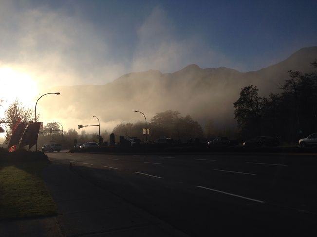Fog rolls in. Squamish, British Columbia Canada
