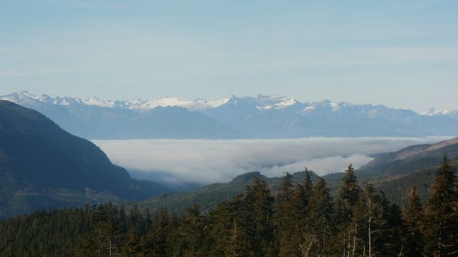 Fog blanket the Skeena Riv. Terrace, British Columbia Canada
