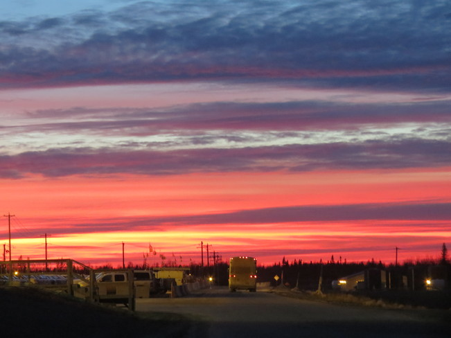 just after sunset Fort Mackay, Alberta Canada