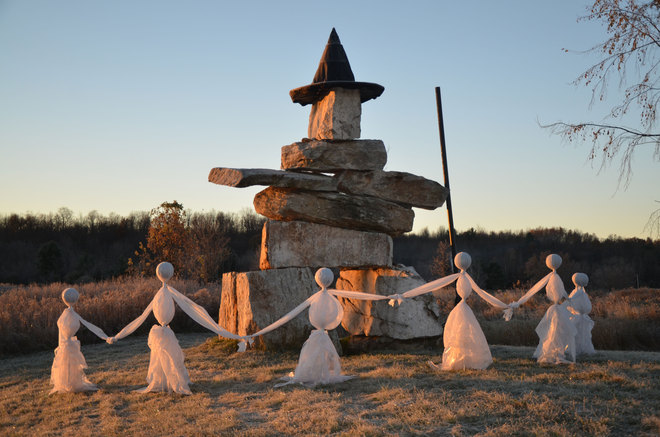Spirits gather by ancient Inuksuk Kingston, Ontario Canada