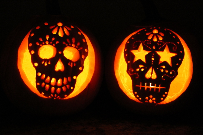 Sugar Skull Style Pumpkins Kingston, Ontario Canada