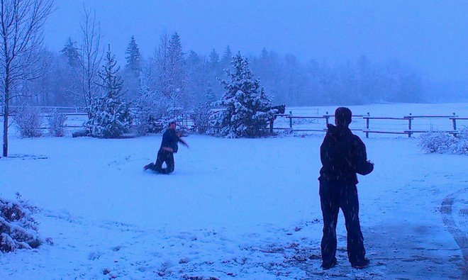 First Snowball Fight Thorsby, Alberta Canada