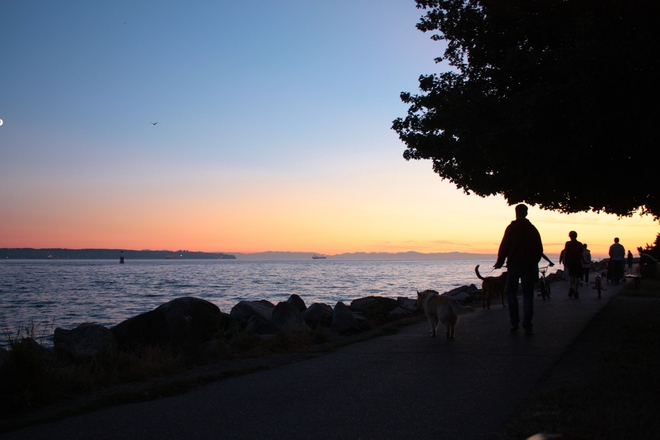 sunset strolling West Vancouver, British Columbia Canada