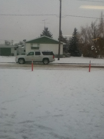 snowing outside Swan River, Manitoba Canada