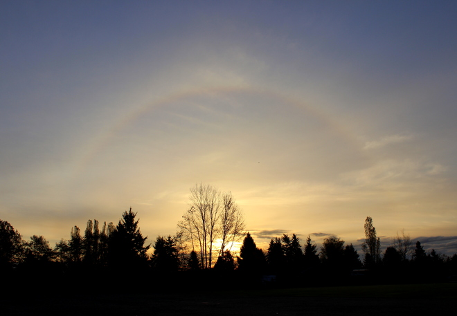 sunrise sunbow Surrey, British Columbia Canada