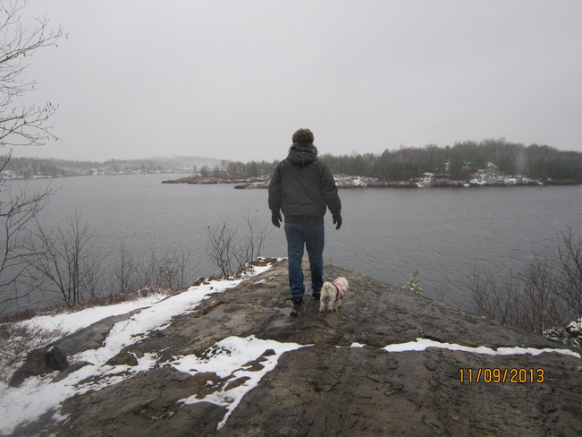 First snow fall. Perfect time for a nature walk Sudbury, Ontario Canada