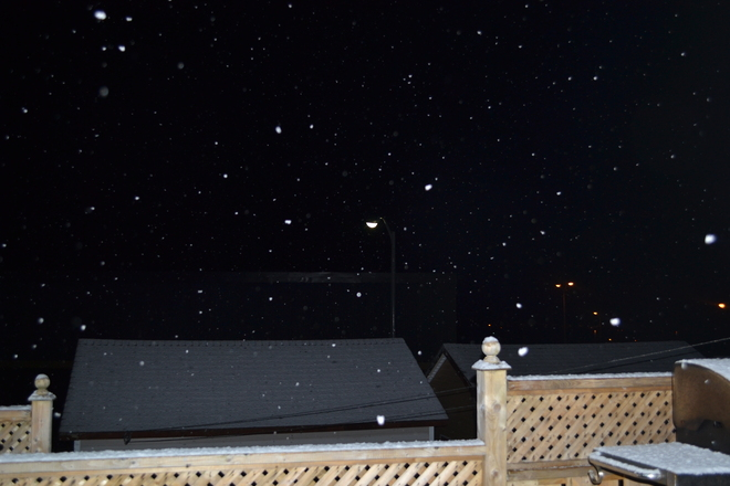 Snow at night Mount Pearl, Newfoundland and Labrador Canada