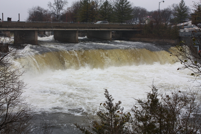 The Falls in Rain Fenelon Falls, Ontario Canada