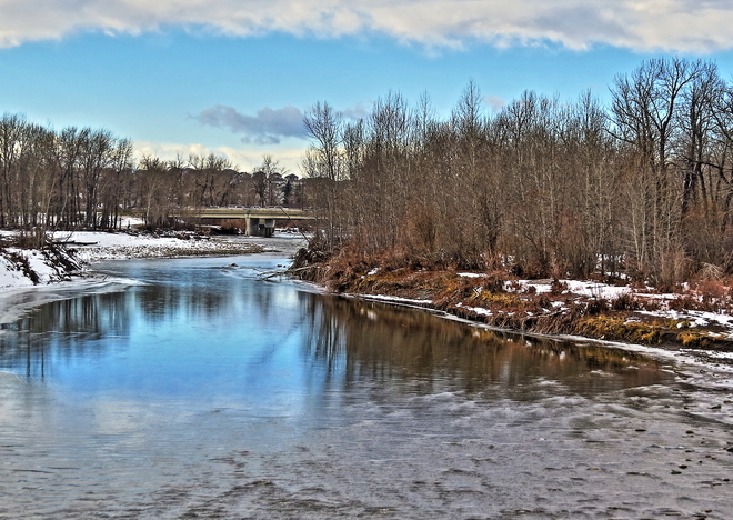 Sheep River from the pedestrian bridge Okotoks, Alberta Canada