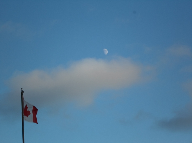 Half Moon on Rememberance Day E.L Elliot Lake, Ontario Canada