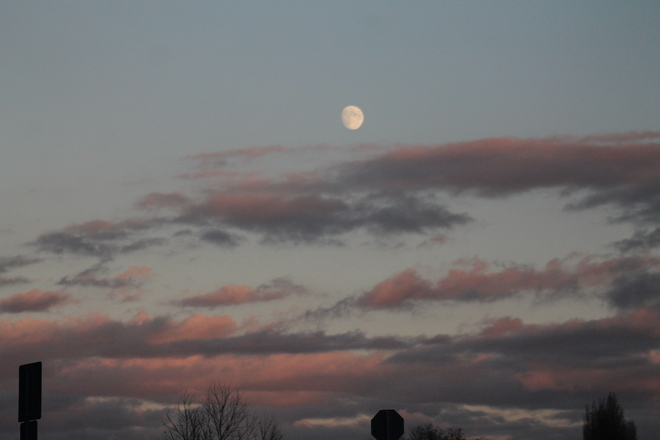 sunset and moon rise Abbotsford, British Columbia Canada