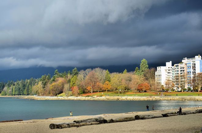 Dark Sky over English Bay Vancouver, British Columbia Canada