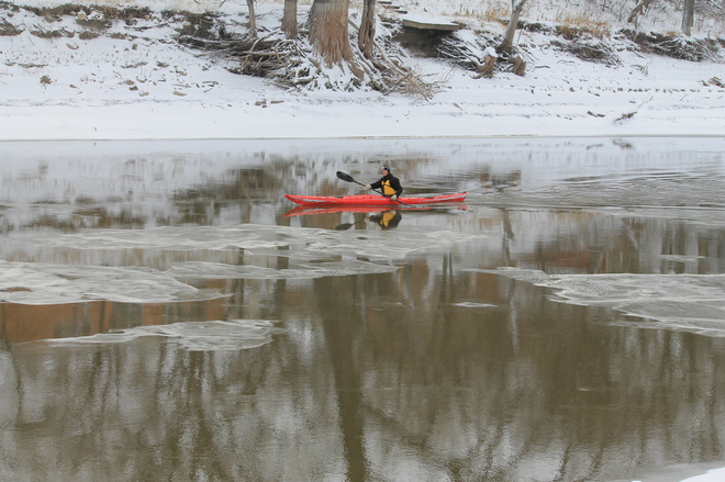 Winter Kayak Winnipeg, Manitoba Canada