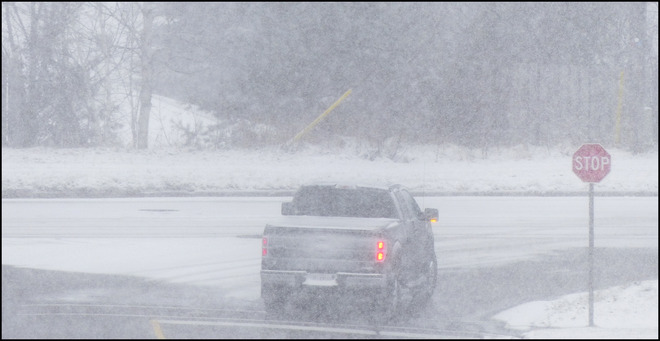 Elliot Lake, stop, blowing snow. Elliot Lake, Ontario Canada