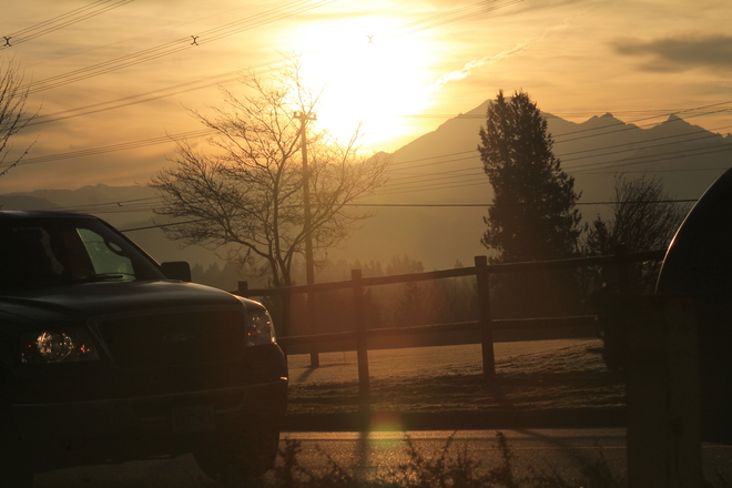 sunrise over mt baker Abbotsford, British Columbia Canada