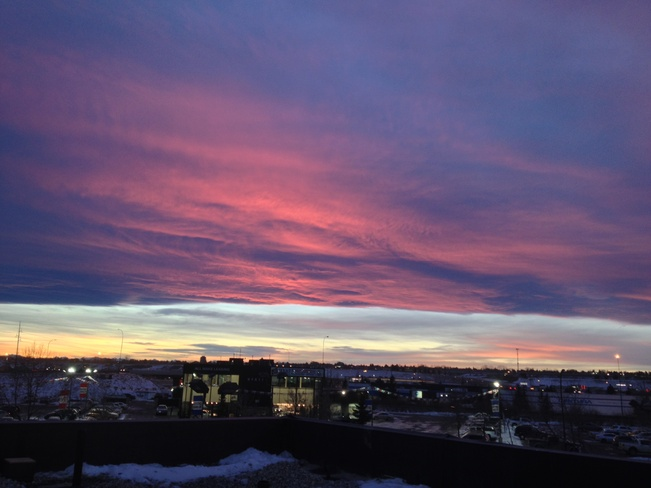 sunset from the rooftop Calgary, Alberta Canada