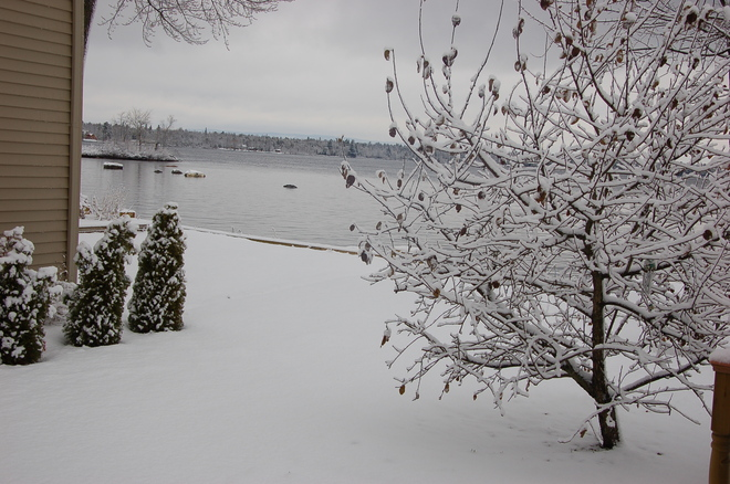 Snowfall on the Ottawa River Petawawa, Ontario Canada