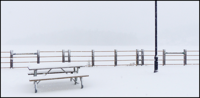 Elliot Lake, empty picnic table. Elliot Lake, Ontario Canada