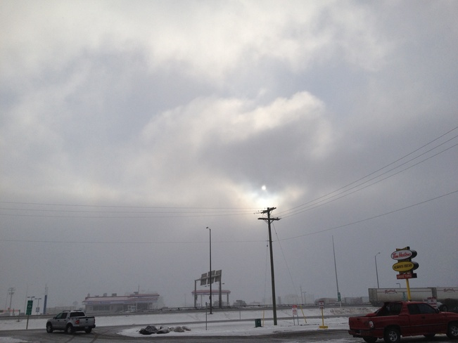 ice fog and light snow Brandon, Manitoba Canada