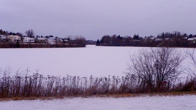 Jones Lake frozen up downtown Moncton Moncton, New Brunswick Canada