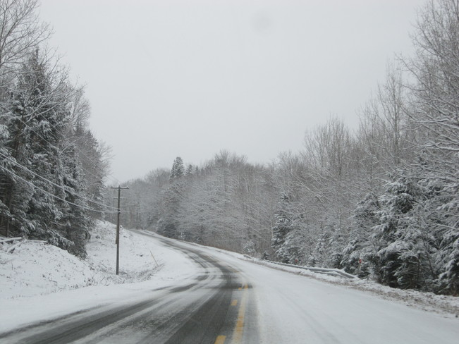snow covered roads Temperance Vale, New Brunswick Canada
