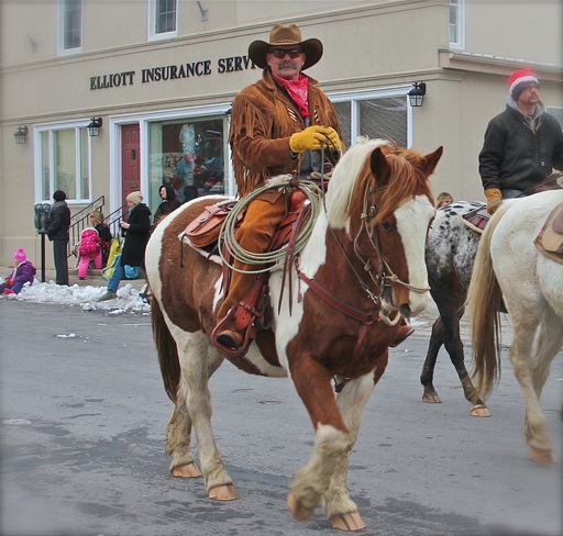 Cowboy at the Santa Claus Parade Port Hope, Ontario Canada