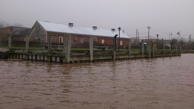 Wolfville Wharf at Super High Tide Wolfville, Nova Scotia Canada