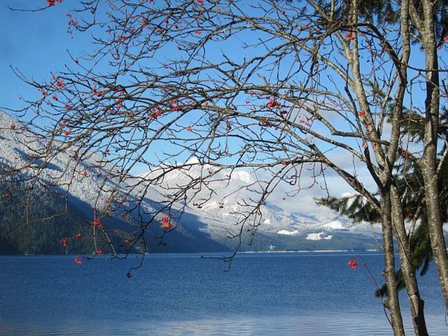 Slocan Lake on a beautiful wintery day New Denver, British Columbia Canada