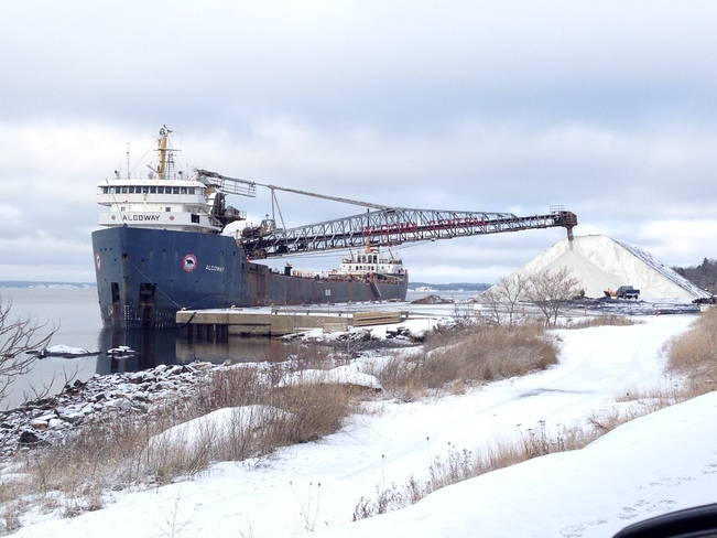 Algoway Freighter unloading salt in Parry Sound Parry Sound, Ontario Canada
