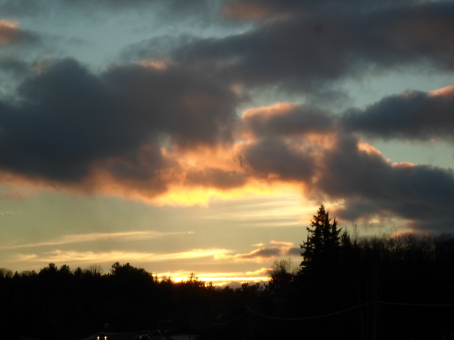 Winter Sunset in E.L Elliot Lake, Ontario Canada