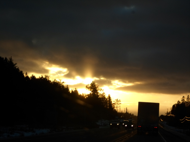 Sunset along the Highway E.L Elliot Lake, Ontario Canada