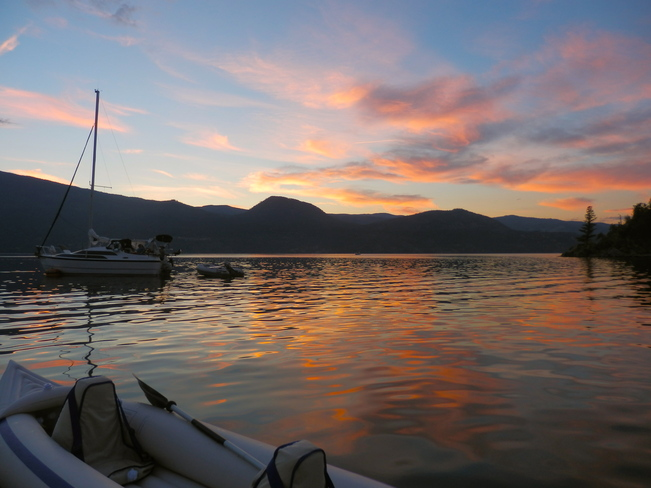 sunset from the boat Vernon, British Columbia Canada