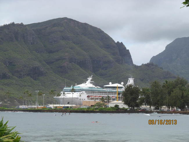 Our cruise ship in Kauai, Hawaii