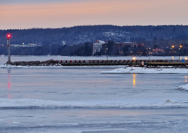 King's Landing encased by ice this nice evening. North Bay, Ontario Canada