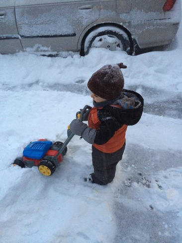 Edwin mowing the snow! Burlington, Ontario Canada
