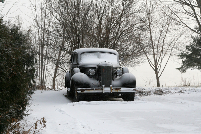 Vintage car in winter Vaudreuil-Dorion, Quebec Canada