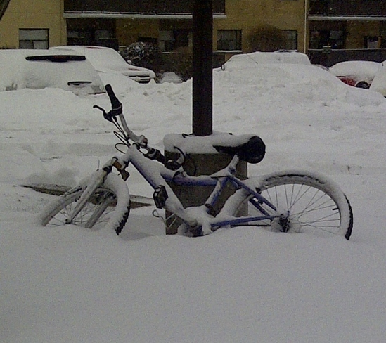 Bike in the snow Toronto, Ontario Canada