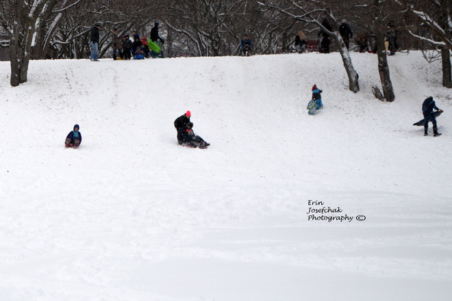 Kids having fun in the snow St. Catharines, Ontario Canada