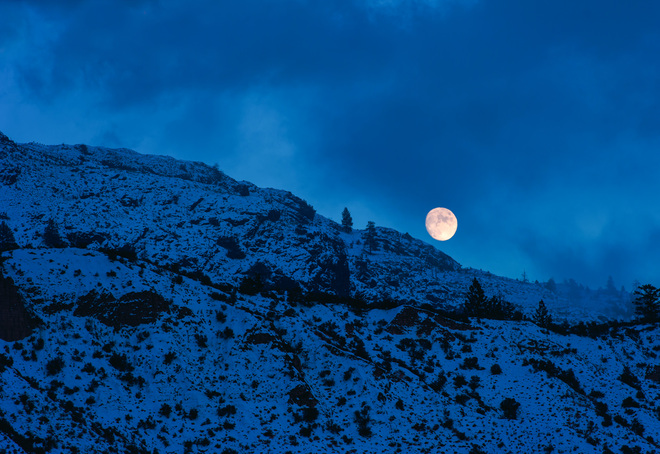 Full Moon Rising Kamloops, British Columbia Canada