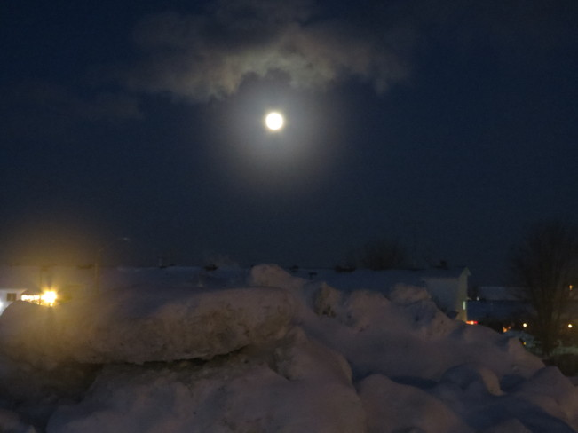 Full moon on a cold night in Cochrane Cochrane, Ontario Canada