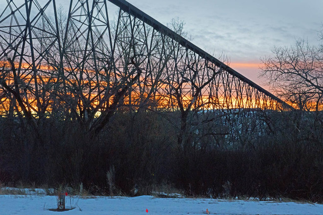 High Level Bridge at Sunset Lethbridge, Alberta Canada
