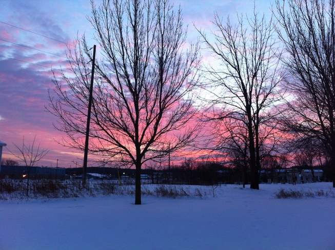 pink sky Picton, Ontario Canada
