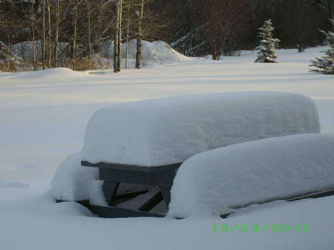 The snow is piling up. Kenabeek, Ontario Canada