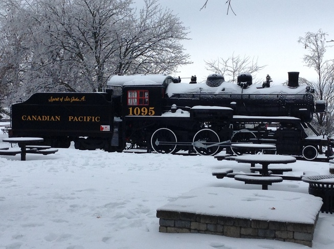 The Spirit of Sir John A on ice Bayridge, Ontario Canada