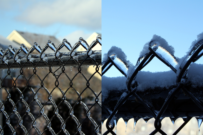 Ice Coated Fence to +Snow Topping Guelph, Ontario Canada