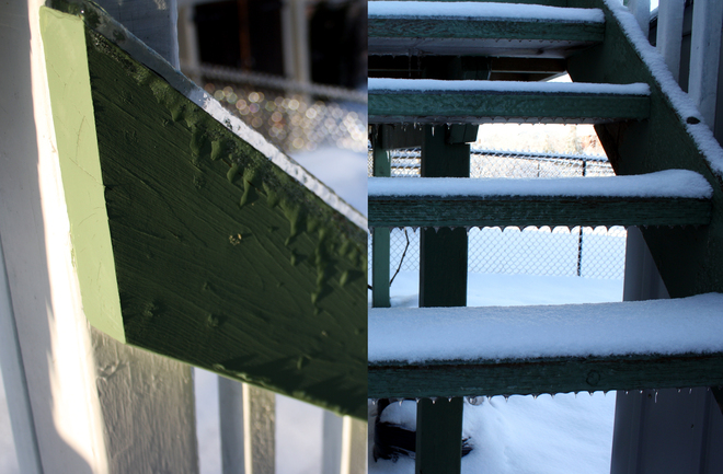 Slippery Deck Covered with Ice Guelph, Ontario Canada