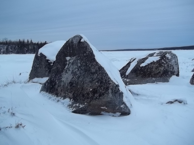 Rocks In The Snow Birchy Bay, Newfoundland and Labrador Canada